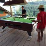 The pool table, playing with local visitors