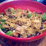 Pad Thai noodles, lots of veggies, meat, hoisin sauce, and garlic water