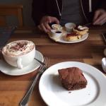 Chocolate brownie & scone with clotted cream & jam