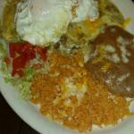 Green Beef Enchiladas with eggs