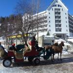 Hotelansicht und Pferdekutschen zum Fextal