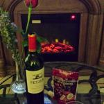 We enjoyed some wine and Chocolate wine grapes by fire