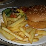 Chicken burger, chips and salad
