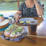 "Mouthwatering lunch on ""Stillness"" Fresh Prawns & Avacado on Cobb loaf Bread. YUM!!"