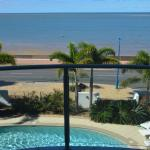 View from balcony to pool and beach