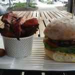 Lamb Burger with Hummus, Goat Cheese and Sweet Potato Fries