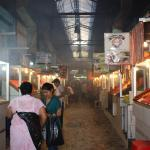 The long row of meat/food vendors