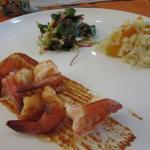 Camarones al diablo, rice w/ corn, and salad