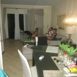the living room and dining room
