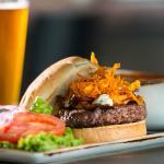 Our signature Bleu Diamond Burger -- Cascade Natural beef, bleu cheese & sweet potato crispies