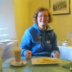 This is me enjoying my Pancake and latte