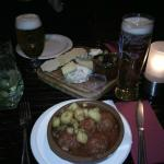 irish and spanish cheeses and meatballs with bravas