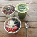 Loaded oatmeal, acai bowl, green smoothie.