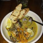 clams in butternut squash broth