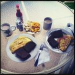 Our daily breakfast on the patio of local fruits from the farmers market, eggs, toast, and Kauai