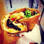 Crepe with grilled veggies, feta and mozzarella