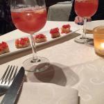 Antipasto leggermente alcolico, agrumari con mini bruschette al pomodoro