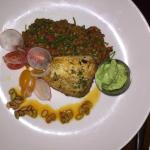 Chilean Sea Bass with lentils pumpkin seeds and an avocado mousse