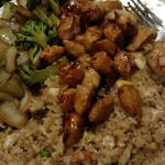 Hibachi chicken with rice, veggies, and four grilled shrimp are included