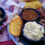 Boiled peanuts, beef & pork combo, beans and tater salad