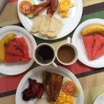 Breakfast at the hotel. Philipine and american breakfast