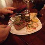 Cold very tough steak :).  shrimp were tasty though