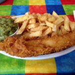Yummy fish, chips & mushy peas (standard portion)