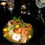 Main - sea bass, prawns roasted vegetables