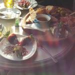 White Hot Chocolate, Chocolate covered strawberries, Waffle, Full Platter