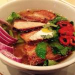 Ramen Noodle Soup with Pork Belly w/Quail Egg. It was so yummy and spicy.