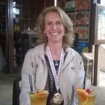 celebrating with cocktails after the marathon