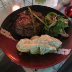 Sirloin grilled to perfection with baked potato and aiolli.