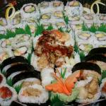 A sushi tray from Oriental Delight.