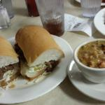 Roast Beef Po Boy (dressed) and Crawfish Etouffee