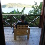 On the veranda of the cabin
