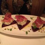 One of the superbe entrees. Buffalo, prosciutto and beat.