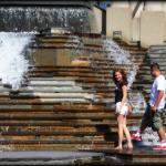 Playing in the water.  Downtown St. Louis.  2014