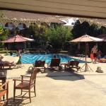 Superbe piscine entourée de toutes les chambres