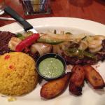 The skirt steak with shrimp, rice, and plantains. Outstanding!