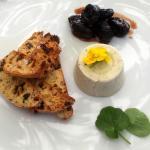 Blue cheese pannacotta with walnut and raisin biscotti and red wine prunes