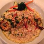 Corn & scallion risotto with grilled shrimp and crabmeat