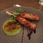 Starter - chicken and prawn skewers with pea brulee.