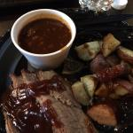 This is the brisket, potatoes & smokey baked beans.