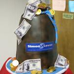Fondant money bag done for Simon lever accounting firm