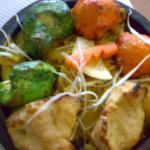 pollo con colori della bandiera indiana