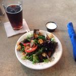 Side salad and seasonal beer special toasted honey lager