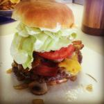 Mountain burger with bacon and mush