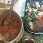 Tom yum and seafood pad knee mao.