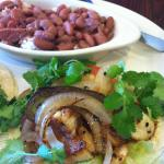 grilled seabass tacos with red beans and rice