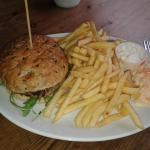 lamb & mint burger with fries and coleslaw very yummy